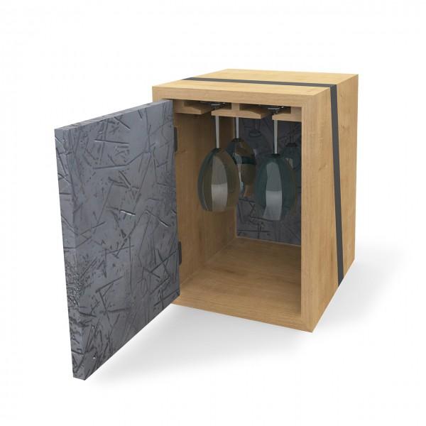 Modul mit Türen & Gläseraufhängung, Holz & Zink